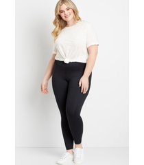maurices plus size womens high rise black ribbed waist luxe leggings