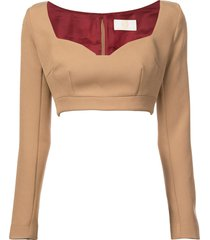 cropped jersey top tan