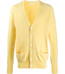 extreme cashmere longline knit cardigan - yellow