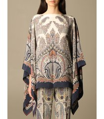 etro top etro kaftan in paisley patterned silk