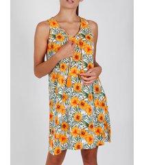 pyjama's / nachthemden admas mouwloos nachthemd hawaii oranje adma's