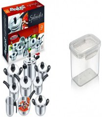 kit conjunto 9 panelas + pote plã¡stico para microondas - prata - dafiti