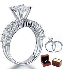 1.5 ct princess cut diamond sterling 925 silver 2-pc bridal engagement ring set