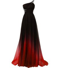 beaded one shoulder gradient chiffon prom evening dresses long black red plus...