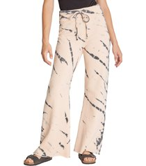 women's wildfox jude tie dye pants, size large - coral