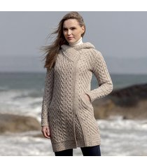 women's oatmeal claddagh aran zipper coat xl