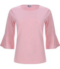 camiseta unicolor mujer manga campana color rosado, talla xs
