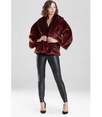 natori leopard faux fur jacket, women's, red, size l natori