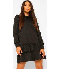 tall sweatshirt jurk met kraag en lange mouwen, black
