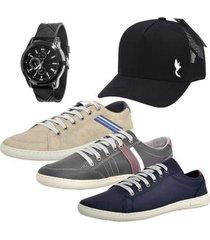 kit 3 pares sapatênis masculino macio relógio boné casual conforto - masculino