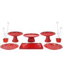 kit festa produfest com 8 peças vermelho