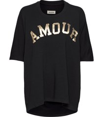 portland amour short sleeved co/ modal sweatshirt t-shirts & tops short-sleeved svart zadig & voltaire