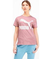 classics logo t-shirt voor dames, roze, maat m | puma