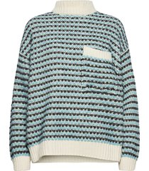 nalin, 1056 tweed knitwear stickad tröja blå stine goya