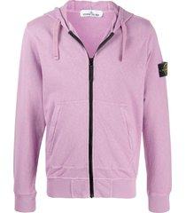stone island logo patch zip-up hoodie - purple