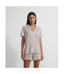 pijama americano curto em poliviscose com estampa de pintinhas | lov | rosa | g