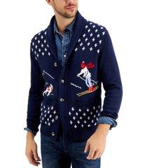 club room men's novelty ski cardigan, created for macy's