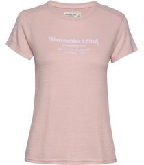 cozy logo tee t-shirts & tops short-sleeved rosa abercrombie & fitch