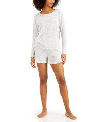 alfani long-sleeve top & shorts pajama set, created for macy's
