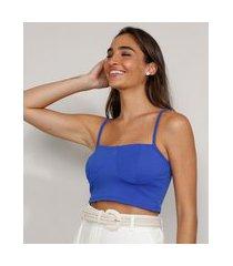 top cropped feminino alça fina decote reto azul royal