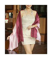 silk shawl, 'shimmering orchid' (thailand)