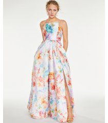 crystal doll juniors' floral square-neck gown