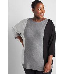 lane bryant women's 3/4-sleeve boatneck colorblock sweater 22/24 medium grey heather