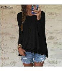 zanzea mujer de encaje de ganchillo manga larga casual tops holgada blusa de la camisa pullover -negro