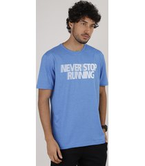 "camiseta masculina esportiva ace ""never stop"" manga curta gola careca azul"
