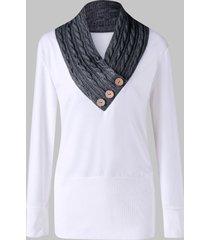 cable knit insert plus size tunic sweatshirt