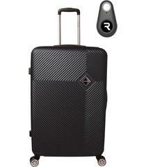 mala de bordo padrão anac em abs - santino - 19 polegadas com localizador bluetooth reaggio  preto