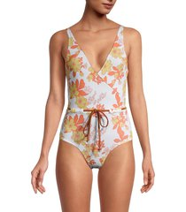 chaser women's floral v-neck one-piece swimsuit - floral print - size s