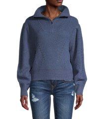 rd style women's pointelle knit zip-neck sweater - denim - size m