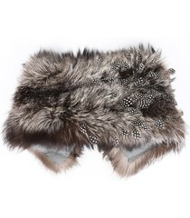 gianfranco ferre brown fur feather stole scarf brown sz:
