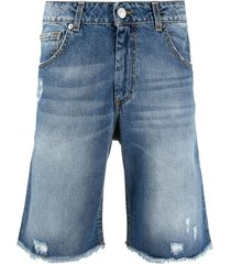 family first distress fringe denim shorts - blue