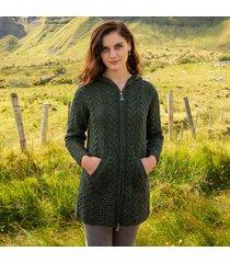 hooded irish aran zipper coat dark green xl