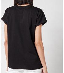 balmain women's flocked logo detail t-shirt - noir/blanc - l