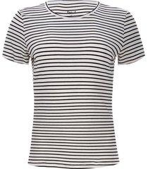camiseta c/r lineas color blanco, talla l