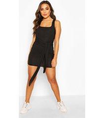petite ribgebreide bodycon-jurk met strik aan de voorkant en vierkante hals, zwart
