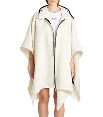 women's moncler mantella down hood logo jacquard wool cape, size one size - white