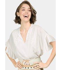 blusa babados e bordado branco off white - lez a lez