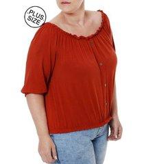 blusa autentique manga 3/4 plus size autentique feminina
