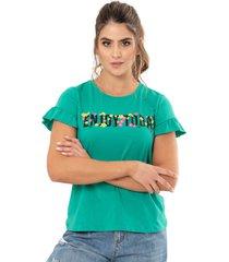 camiseta enjoy verde ragged pf51120525
