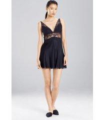 sleek lace chemise pajamas / sleepwear / loungewear, women's, black, silk, size l, josie natori