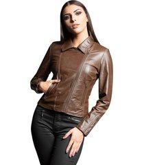 jaqueta parra couros feminina motoqueira palladium café marrom