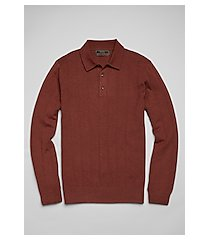 reserve collection cotton & silk long sleeve men's polo sweater clearance