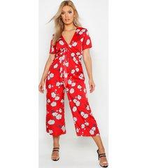 plus floral print knot front culotte jumpsuit, red