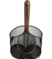 mind reader wood 3 section utensil caddy