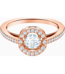 anello swarovski sparkling dance round, bianco, placcato oro rosa