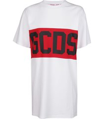 gcds white and red cotton t-shirt dress